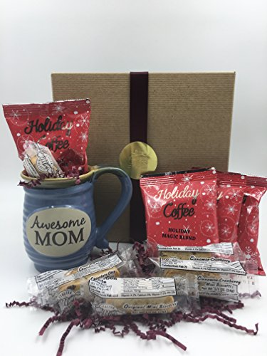 Gift for Mom - Holiday Coffee Gift Set - Awesome Mom Mug, Holiday Coffee Blends & Mini Biscotti