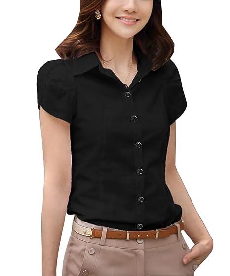 270a5531 Women Blouse Short Sleeve Elegant Shirt Work Tops Korean Fashion Clothing  Black