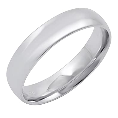 Men's 14K White Gold 5mm Comfort Fit Plain Wedding Band (Available Ring  Sizes 8-