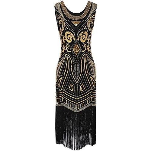 COSYOU Women's 1920s Vintage Embellished Sequin Beaded Flapper Evening Dress (XXXL(Bust:39.4 inch), Gold)