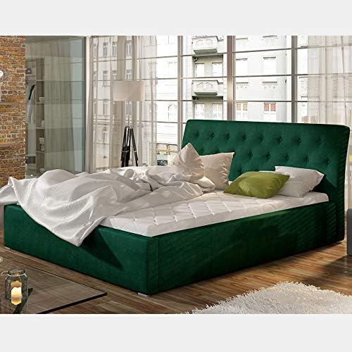 Cama con somier 160 x 200 cm, tejido verde MILAS: Amazon.es ...