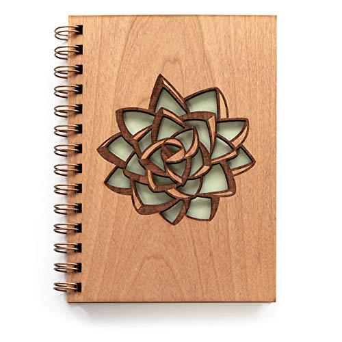 Succulent Laser Cut Wood Journal (Blank Pages Notebook/Christmas/Birthday/Gratitude Journal/Handmade/Christmas Gift)