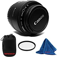 Canon EF 50mm f/1.8 II Standard AutoFocus Fixed DBPREMIUM Lens Bundle + High Definition U.V. Filter + Deluxe Pouch for Canon Digital SLR Cameras