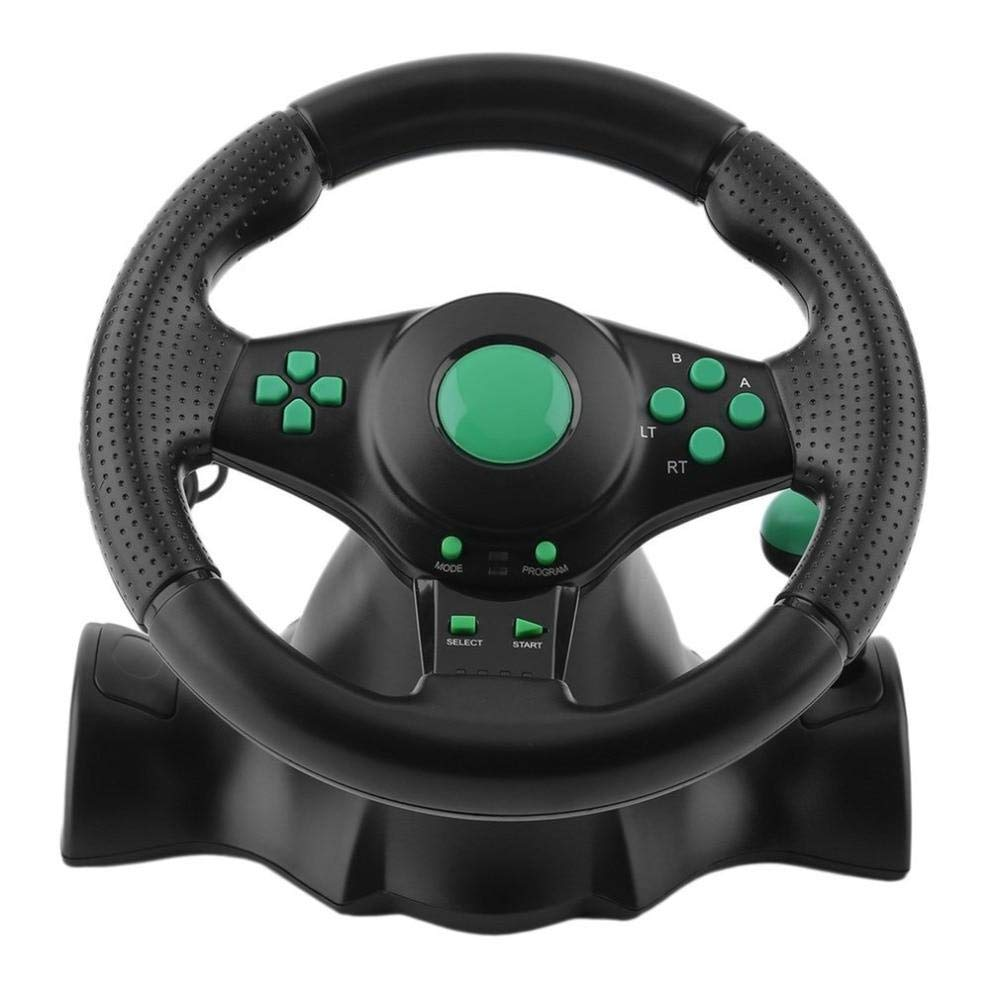 Games Accessories 140cm Component 5RCA 180 Degree Rotation Gaming Vibration Racing Steering Wheel with Pedals for Xbox 360 for PS2 for PS3 PC USB Car Steering Wheel