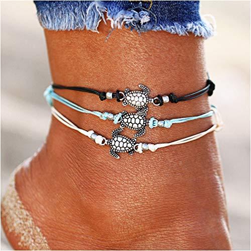 (Phima Women Ankle Bracelets Sea Turtle Anklet Bracelets for Girls Bohemian Beach Anklets Adjustable Foot Jewelry)