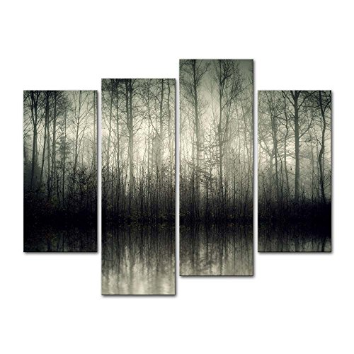 Dreams Giclee Print (4 Pieces modern Canvas Painting Wall Art The Picture For Home Decoration Beautiful Lake With Fog Trees At Night In Bavaria Germany Forest Landscape Print On Canvas Giclee Artwork For Wall Decor)
