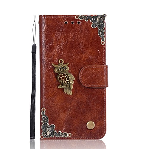 Lenovo A2010 Case,Gift_Source [Owl series] [Wrist Strap] Vintage Wallet Phone Case Flip PU Leather Purse Folio Stand Feature Cover with ID&Credit Card Pockets for Lenovo A2010 (4.5 inch) [Brown]