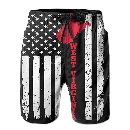 West Beach Pant (Zyci Pant USA American Flag West Virginia Sate Quick-drying Man'sBeach Pants Drawstring Beach With Pockets)