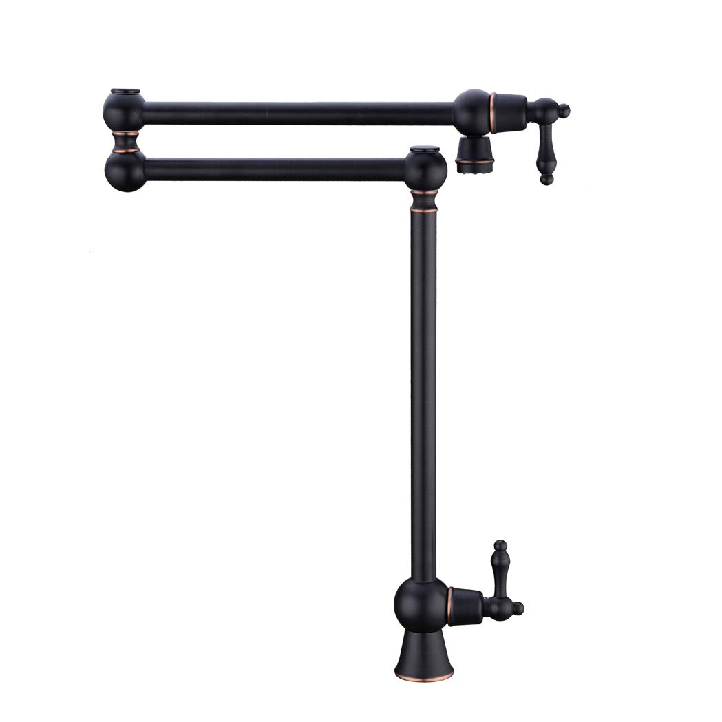 GICASA Solid Brass Deck Mount Pot Filler Faucet, Oil Rubbed Bronze Pot Filler Folding Faucet Stretchable Double Swing Joint Single Hole Two Handle Kitchen Sink Faucet by GICASA