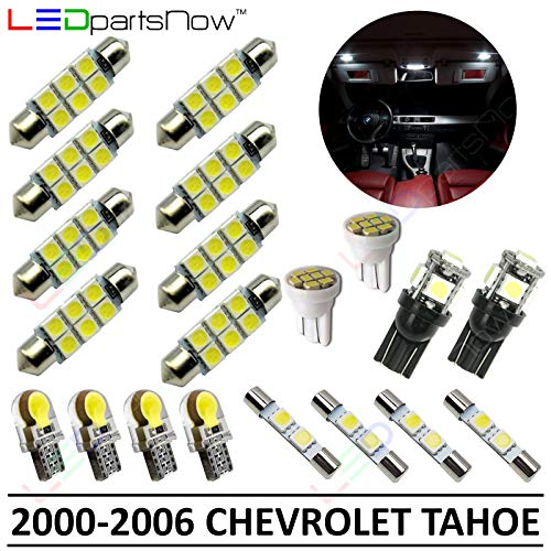 LEDpartsNow Interior LED Lights Replacement for 2000-2006 Chevy Tahoe Accessories Package Kit (20 Bulbs), WHITE