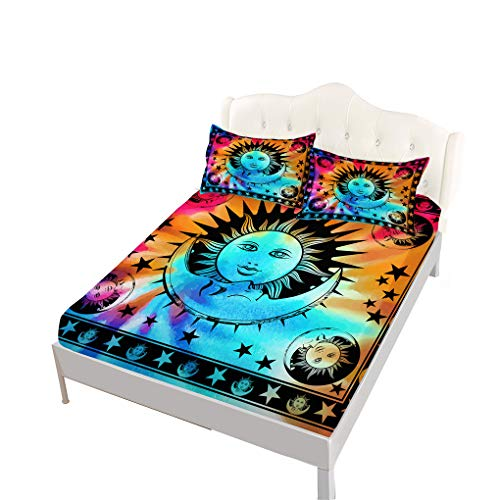 VITALE Bedding Fitted Sheet Queen Size,Tie-Dye Printed Queen Size Sheets Set, Moon Sun Printed Set of 4 Pieces Queen Fitted Sheet Set, Ethtic Style Home ()
