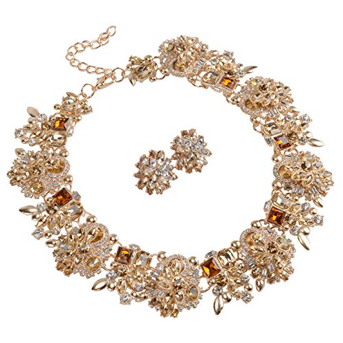 Holylove Tawny Retro Style Statement Necklace Earrings for Women Novelty Jewelry Set 1 with Gift Box-8041BTawny -
