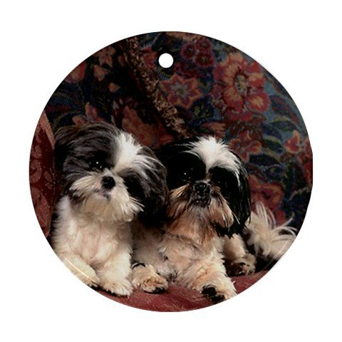 Puppies shih tzu Ornament round porcelain Christmas Great Gift Idea