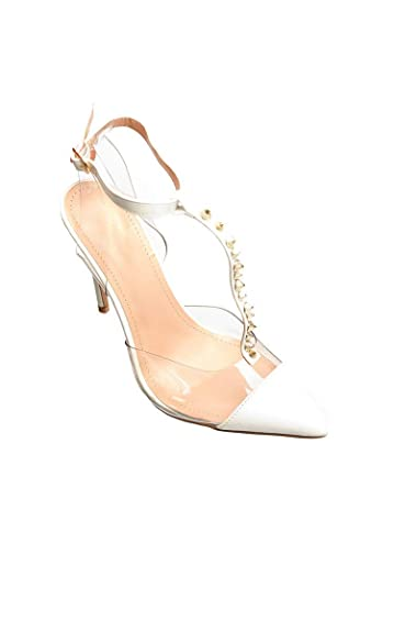6620b99d385 IKRUSH Women s Tiffany Studded Perspex Court Heels Size in White Size 3