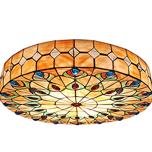 - Angry peach 18inch Retro Tiffany Ceiling lamp Ceiling lamp Hand Chandelier Embedded Installation Lighting lampshade with Mother-of-Pearl Lighting Decorative Chandelier