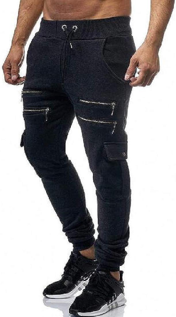 FSSE Mens Gym Workout Zip Trim Multi Pockets Casual Sport Cargo Jogger Pants
