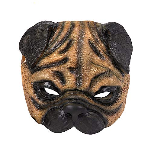 Mardi gras Halloween Cosplay Pug shar pei Dog mask for Adult Costume Carnival Brown