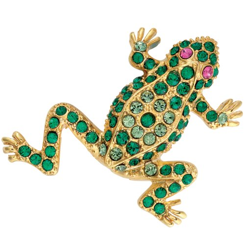 Brooch Frog Pin with Faux Emeralds & Faux Rubies Lizard Pin Costume Jewelry