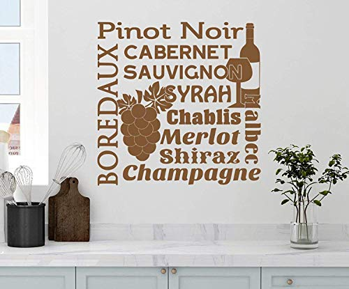 Profit Decal Wine Collage Saying Pinot Noir Cabernet Sauvignon Boredaux Syrah Malbec Chablis Merlot Shirax Champagne Kitchen Drink Grapes Art Saying Letters Wall Decals Decor Vinyl Sticker - Wine Malbec Syrah