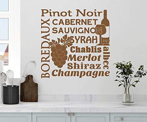 Profit Decal Wine Collage Saying Pinot Noir Cabernet Sauvignon Boredaux Syrah Malbec Chablis Merlot Shirax Champagne Kitchen Drink Grapes Art Saying Letters Wall Decals Decor Vinyl Sticker Q4888
