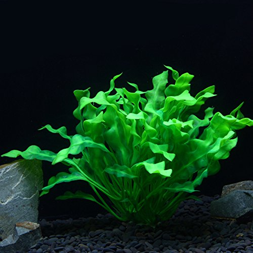 OWIKAR Aquarium Plants High Imitation Aquatic Plants Lifelike Fish Tank Decorative Green Broad-leaved Plants Artificial Decor Landscape Plastic Water Plants 12inch Large Size