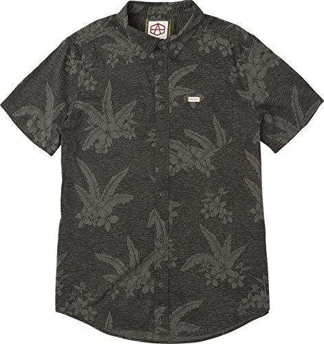 Shirt Hawaiian Street (RVCA Men's AR Hawaiian Short Sleeve Woven Button up Shirt, Pirate Black, XL)