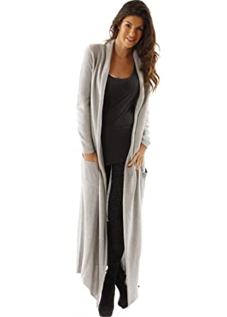 YLondon Grey Cotton Knit Maxi Cardigan Grey Medium: Amazon.co.uk ...