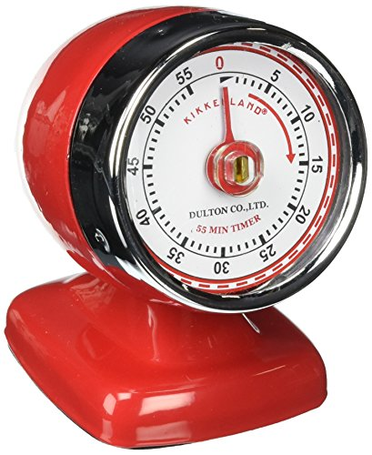 Countertop Vintage Streamline Kitchen Timer, Red Retro Style