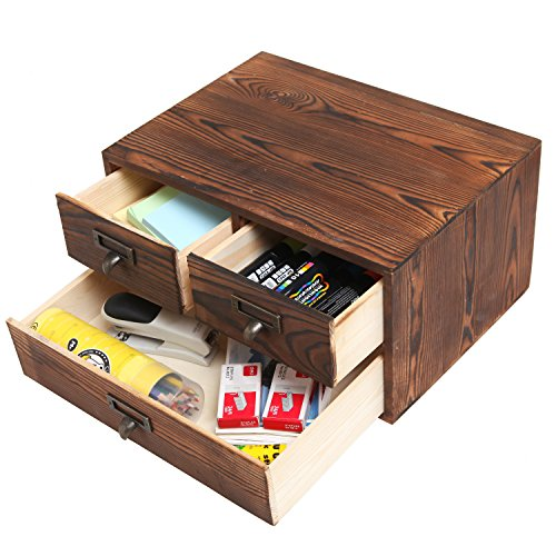 MyGift Small Rustic Dark Brown Wood Office Storage Cabinet/Jewelry Organizer w/ 3 Drawers by MyGift (Image #3)