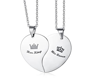 91133e1d0f Image Unavailable. Image not available for. Color: Stainless Steel Heart  Puzzle His Queen Her King Crown Couple Pendant Necklace ...