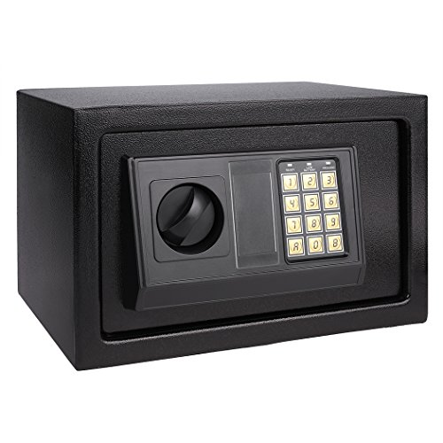 Homdox Electronic Digital Safe Box Hidden Wall/Floor Anchoring Design Home Office Safe Box, Double Deadbolt Lock,Black shipping from CA.US(AN-SB003 12.1 x 7.8 x 7.8inch)