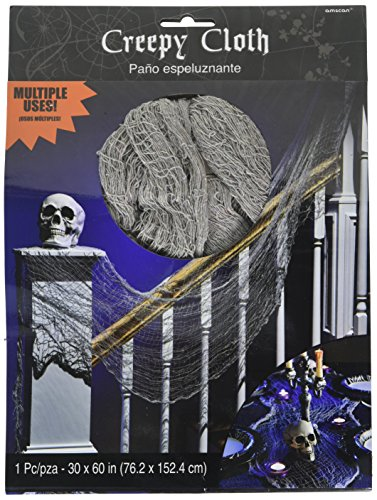 Freaky Scary Halloween Costumes (Amscan Creepy Haunted House Cloth Decoration Halloween Trick or Treat Party, Gray, 60