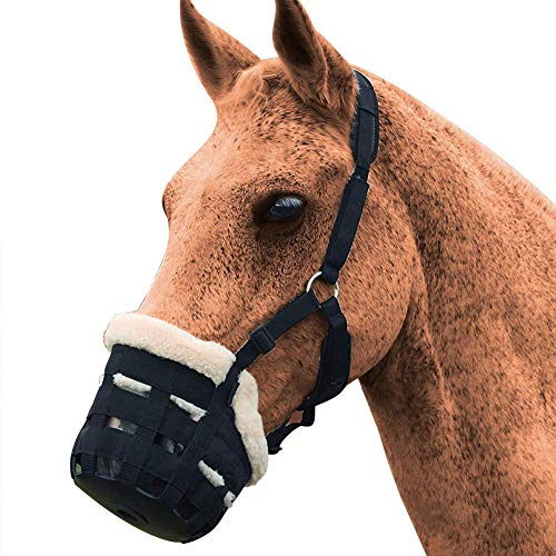 sweetyhomes Horse Mask Muzzle Pony Slows The Horses Battles Grass Halter Adjustable Mouth Cover Outdoors Comfort Hunter Pet Easy Breathe Fly Nose Protector Insect Repellent Nostril Protection Velcro