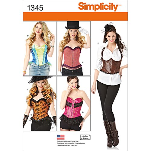 Simplicity Creative Patterns 1345 Misses' Corsets and Ruffled Shrug Sewing Patterns, Size H5 -