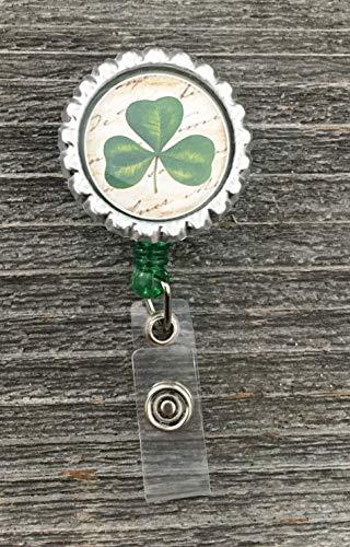 - Rustic Shamrock Retractable Badge Reel - Nurse Badge Reel - Medical Badge Reel Clip - RN ID Clip