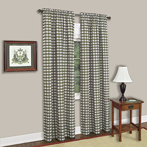 GoodGram Buffalo Check Plaid Gingham Custom Fit Window Curtain Treatments By Assorted Colors, Styles & Sizes (Single 63 in. Panel, Sage)