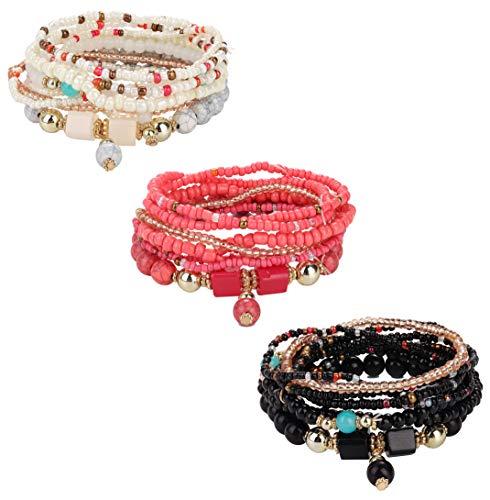 Set Stretch Bracelet Bead (Adramata Bohemian Stackable Bead Bracelets for Women Girls Wrist Stretch Stackable Multilayered Bracelet Set)