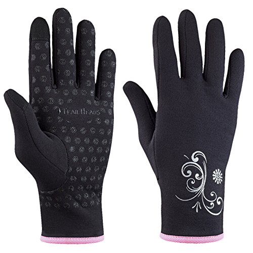 TrailHeads Women's Running Gloves | Touchscreen Gloves | Power Stretch Winter Running Accessories - black/fast pink (Figure Skating Gloves)