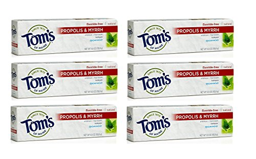 Antiplaque Fluoride-Free Toothpaste with Propolis and Myrrh, Spearmint, Pack of 6