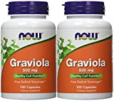 NOW Graviola 500mg, 100 Capsules (Pack of 2)