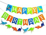 3 PCS Dinosaur Happy Birthday Banner for Kids Birthday Party Supplies Decoration Dino Birthday Colorful Banner Dino Jungle Jurassic