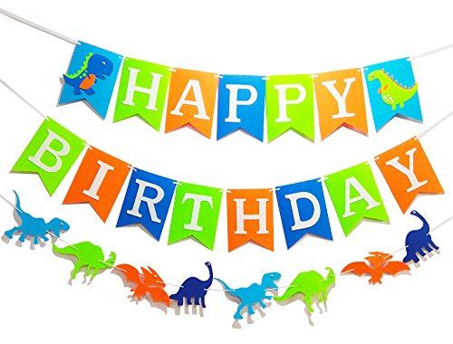 3 PCS Dinosaur Happy Birthday Banner for Kids Birthday Party Supplies Decoration Dino Birthday Colorful Banner Dino Jungle Jurassic