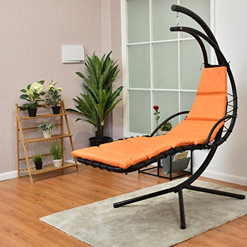 Giantex Hanging Chaise Lounger Chair Arc Stand Air Porch Swing Hammock Chair with Canopy Umbrella - Lounger Canopy