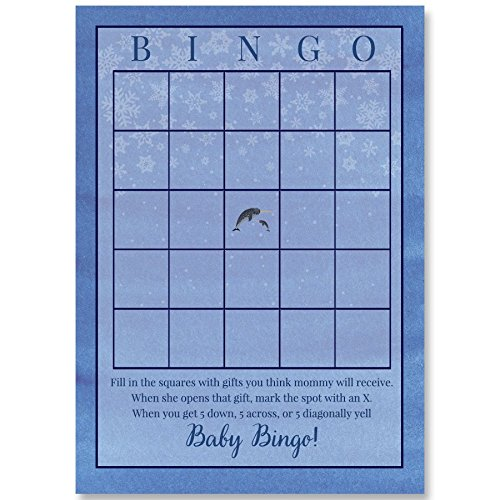 Narwhal Baby Shower, Bingo Card, Boys, Blue, Girls, Neutral, Watercolor, Sprinkle, Birthday, Narwhol, Unicorn, Water Unicorn, Fish, Horn, 24 Printed Game Cards, Winter, Snowflake by The Invite Lady
