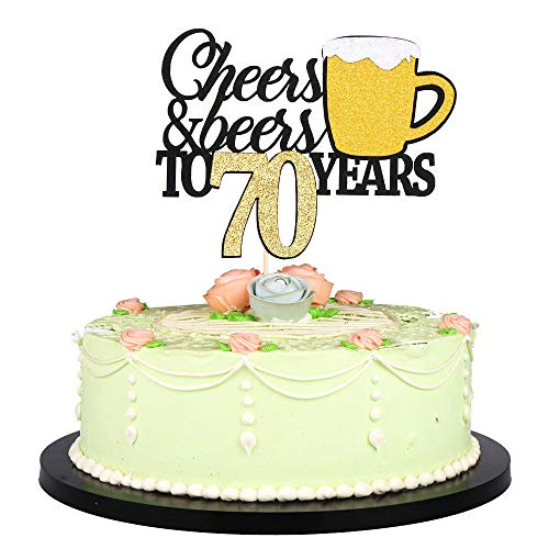 LVEUD Happy Birthday Cake Topper Let we Cheers Cheer 70 Years Happy Birthday -Wedding,Anniversary,Birthday Party Decorations (70th)