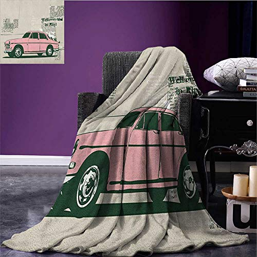 Vintage Car couch blanket Old Model Car and Newspaper Cuts Antique Style Classic Urban Life Illustration Custom Pink Beige size:50''x60'' by Anniutwo