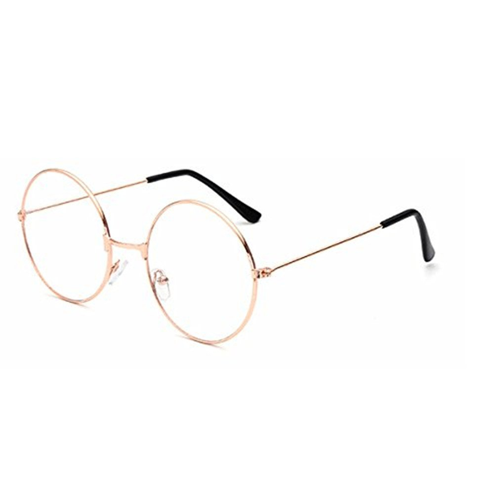 Tinksky Round Eyeglasses Clear Lens Glasses Ultra Light for Santa Claus and Harry Potter Cosplay Gold