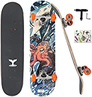 """CREDO Street Standard Skateboards, 31""""x 8""""Skateboard for Kids Ages 6-12 and Adult,7 Layer Canadian M"""