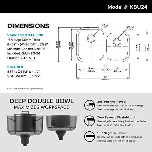 Kraus KBU24 32 inch Undermount 6040 Double Bowl 16 gauge