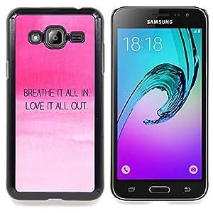 """Qstar Arte & diseño plástico duro Fundas Cover Cubre Hard Case Cover para Samsung Galaxy J3(2016) J320F J320P J320M J320Y (Amor Aliento motivación de la cita Pink Sky"""")"""